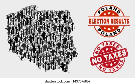 Patriotic Poland map and seals. Red round No Taxes grunge seal stamp. Black Poland map mosaic of raised raising arms. Vector collage for election results, with No Taxes seal stamp.