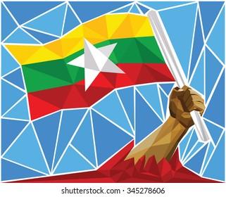 Patriotic Powerful Man Arm Raising The National Flag Of Myanmar