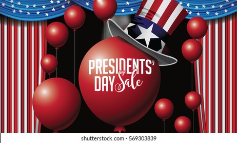 Patriotic President Day Sale background template with balloons and American flag curtains. Marketing frame with copy space for celebration of Presidents Day. In 16 9 ratio. EPS 10 vector.