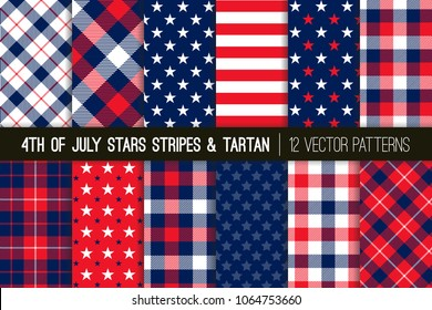 Patriotic Red, White, Blue Stars and Stripes and Tartan Plaid Vector Patterns. July 4th Independence Day Backgrounds. Hipster Lumberjack Flannel Shirt Fabric Textures. Pattern Tile Swatches Included.