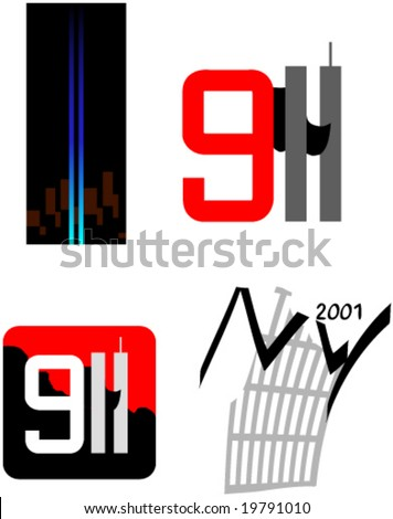 Patriotic Remembrance Symbols Twin Towers Terror Stock Vector