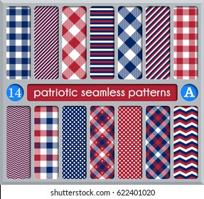 Patriotic set of white , blue, red seamless patterns. Suitable for elections or 4th of July. Swatches, vector endless texture can be used for wallpaper, background, pattern fills, web page, surface.
