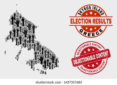 Patriotic Skyros Island map and seal stamps. Red round Objectionable Content grunge stamp. Black Skyros Island map mosaic of raised decision arms. Vector composition for referendum results,