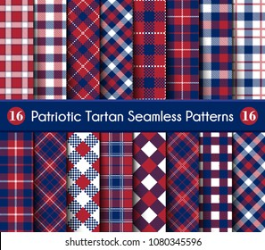 Patriotic Tartan Set of White , Blue, Red Seamless Patterns. Suitable for Elections or 4th of July. Vector Endless Texture Can Be Used for Wallpaper, Background, Pattern Fills, Web Page, Surface.