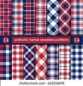Patriotic Tartan Set of White, Blue, Red Seamless Patterns.Suitable for Elections or 4th of July.Swatches, Vector Endless Texture Can Be Used for Wallpaper, Background, Pattern Fills,Web Page,Surface.