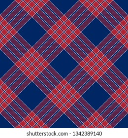 Patriotic Tartan  of White, Blue and Red Vector Seamless Patterns. Suitable for Elections or 4th of July.