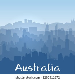 Patriotic vector background with biggest Australian cities silhouettes and sunrise sky