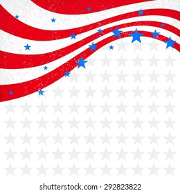 Patriotic Wave Background. USA patriotic background. Independence Day cards. Holiday background vector with place for text. Template frame for flyer, invitation, banner and greeting card.