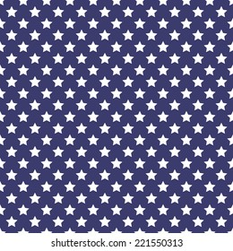 Patriotic white and blue geometric seamless patterns. Vector set with American symbols. USA flag.
