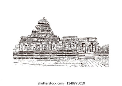 Pattadakal, also called Raktapura, is a complex of 7th and 8th century CE Hindu and Jain temples in northern Karnataka, India. Hand drawn sketch illustration in vector.