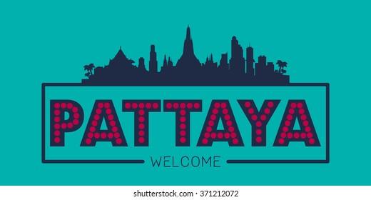 Pattaya city skyline typographic illustration vector design