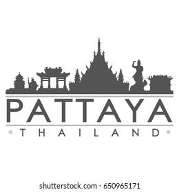Pattaya Skyline Silhouette Skyline Stamp Vector City Design