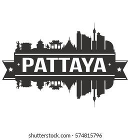 Pattaya Skyline Stamp City Silhouette Vector design