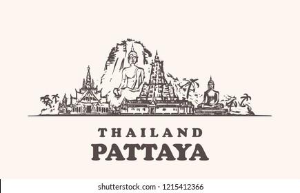 Pattaya skyline, Thailand vintage vector illustration, hand drawn buildings of Pattaya city, on white background.
