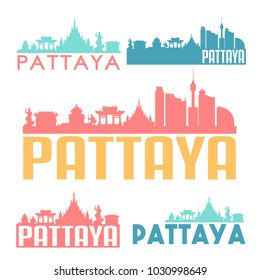 Pattaya Thailand Flat Icon Skyline Vector Silhouette Design Set