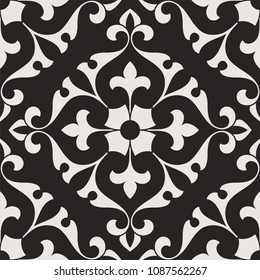 Pattern. Abstract floral seamless background with stylized leaves and scrolls forming ornament in Arabesque style.