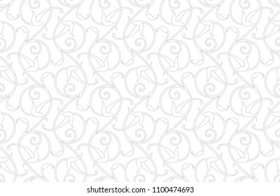 Pattern. Abstract floral seamless background with stylized leaves and scrolls forming ornament in Arabesque style.   White texture