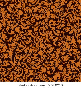 pattern with abstract flowers on a brown background
