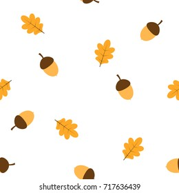 pattern with acorns and autumn oak leaves, beige, brown, acorn with leaves