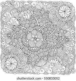 Pattern for adult coloring book.  Ethnic, floral, retro, doodle, vector, tribal design element. Black and white  background