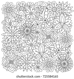 Pattern for adult coloring book.  Flowers. Ethnic, floral, retro, doodle, vector, tribal design element. Black and white  background.