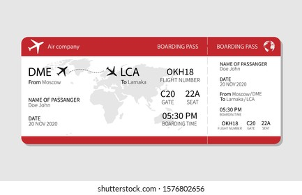 Pattern of airline boarding pass ticket, vector illustration.
