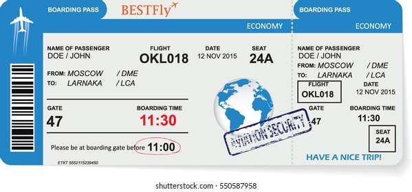 Pattern of airline boarding pass ticket. Concept of travel, journey or business trip. Isolated on white. Vector illustration