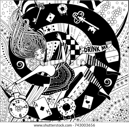 Pattern Alice Wonderland Coloring Book Page Stock Vector Royalty