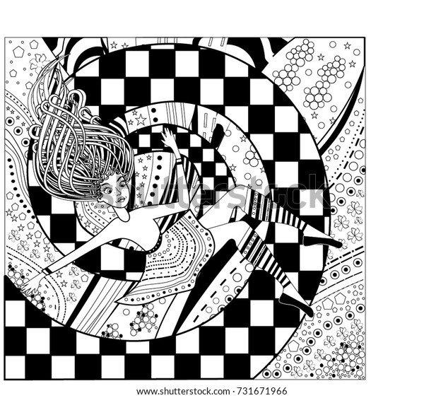 Pattern Alice Wonderland Coloring Book Page Stock ...