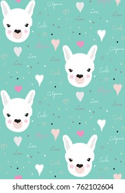 Pattern alpaca lama portrait cute green