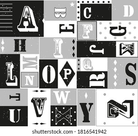 Pattern of alphabet letters in circus letter font typographic, black white grey , giftwrap, graphic geometric abstract minimal retro vintage, happy kids background illustration in vector