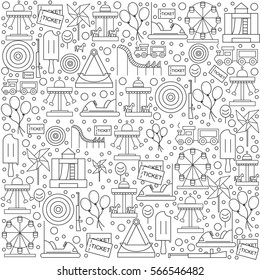 Pattern amusement park with icons on a white background. Vector illustration.