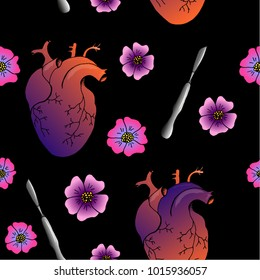 Pattern with anatomy heart, scalpel and flowers.