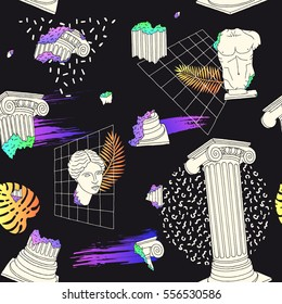 Pattern with ancient greek columns. Memphis style. Vector