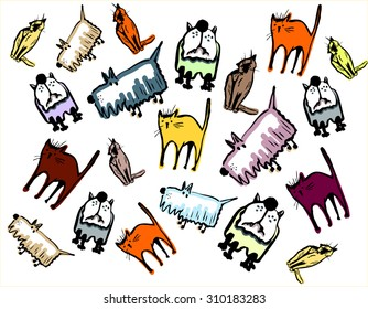 pattern animals in the white background
