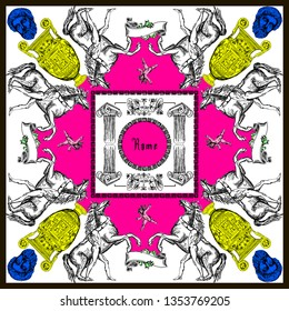 Pattern with antique elements for silk scarf. Vector illustration. Fashon collection