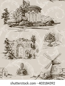 Pattern with architecture in the old park in toile de jouy style with baroque swirls in beige color