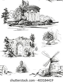 Pattern with architecture in the old park in toile de jouy style in black and white