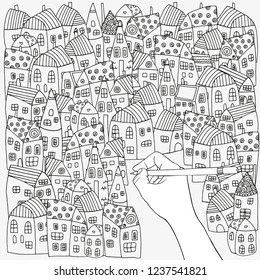 Pattern with artistically  houses. Black and white. Street background in vector. Doodle style.