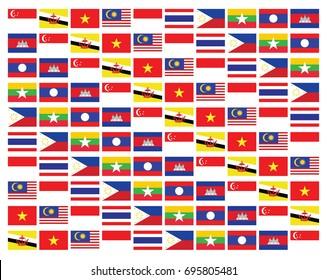 pattern of ASEAN flags
