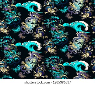 Pattern of asian dragon and sea wave. Vector illustration. Suitable for fabric, wrapping paper and the like
