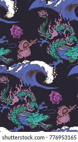 Pattern of asian dragon. Vector illustration