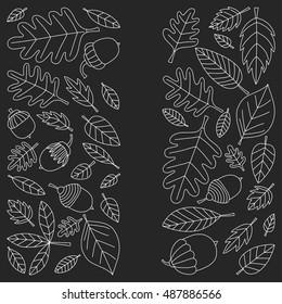 Pattern with autumn leaves Oak Mapple Acorn Linden