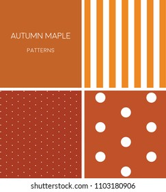 Pattern autumn maple orange white dot stripe