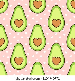 Pattern with avocado, a bone in the form of a heart, on a pink background with white hearts.  It can be used for packaging, wrapping paper, textile and etc.