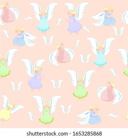 Pattern baby girls angels with wings in colorful dresses stand and sit on a beige background