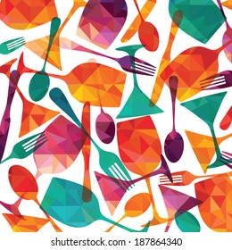 pattern background. Fork, knife, glasses and spoon silhouettes
