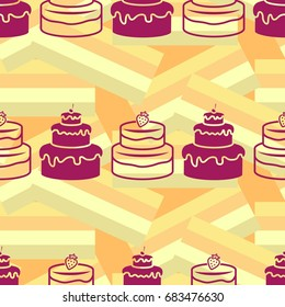 Pattern. Background texture. cakes, ice cream, coffee, croissant.