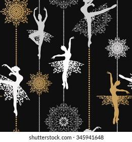 Pattern with ballerinas and snowflakes Retro Christmas pattern Seamless christmas background Vector seamless pattern