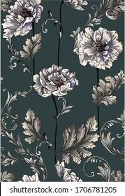 Pattern with baroque swirls with peony flowers,vertical pattern on  dark green background.
